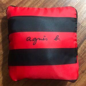 Agnes B foldable travel bag red and black stripe